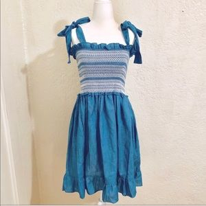 NWT Blue Chambray Flowy Smocked Dress